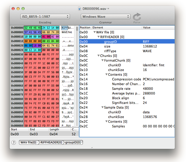 Rescue of a WAV file | Synalyze It! - Hex Editor for Mac | Andreas